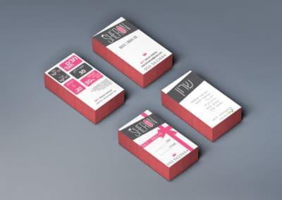 עיצוב כרטיס ביקור וכרטיסיית מבצעים - שרון